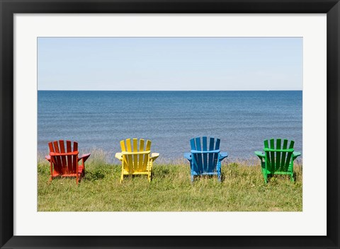 Framed Beach Chairs on Prince Edward Island Print