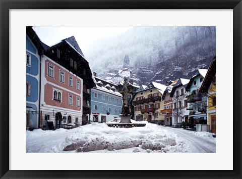 Framed Austria Town Center in Winter Print