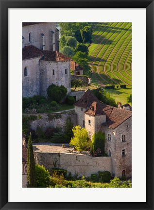 Framed Saint-Cirq-Lapopie in the Lot Valley Print