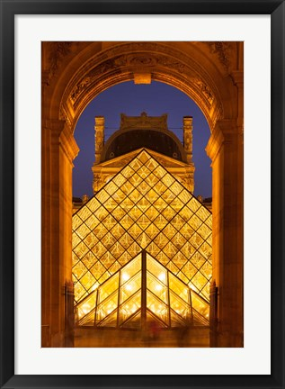 Framed Glass pyramid at Musee du Louvre, Paris, France Print