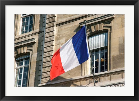 Framed French Flag Facade of Justice Palace Paris, France Print