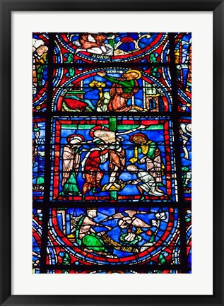 Framed Stained Glass Window in Chartres Cathedral Print
