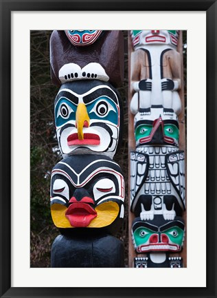 Framed First Nation Totems Print