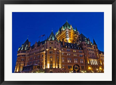 Framed Chateau Frontenac Hotel at Night Print