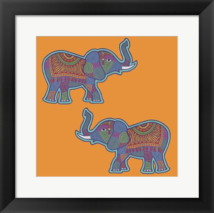 Framed 2 Elephants Print