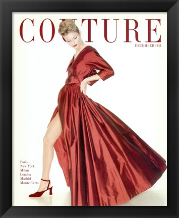 Framed Couture December 1954 Print