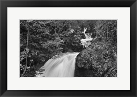 Framed Lake Superior Rushing Water Over Rock Print