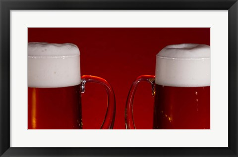 Framed Beer Mugs Closeup Print