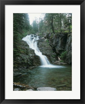 Framed Glacier National Park Waterfall 8 Print