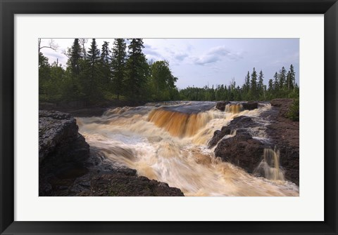 Framed North Shore Rushing Water And Rocks Print