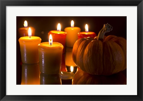 Framed Pumpkins And Candles Print