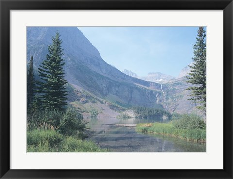 Framed Misty Mountains And Shadow River Print