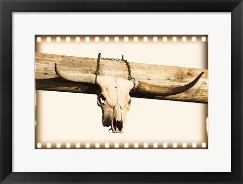 Framed Bull Skull And Chain Print