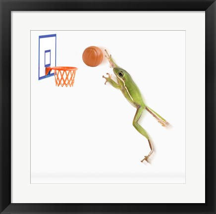 Framed Frog And His Basketball Print