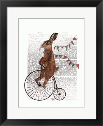 Framed Rabbit On Penny Farthing Print