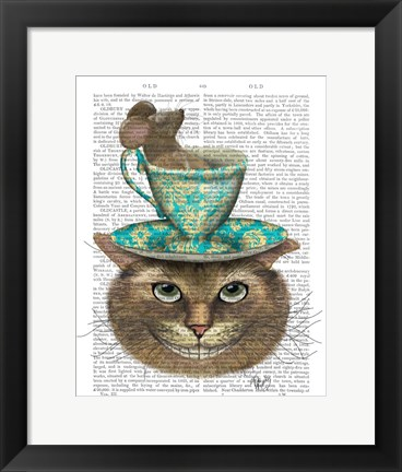 Framed Cheshire Cat with Cup on Head Print
