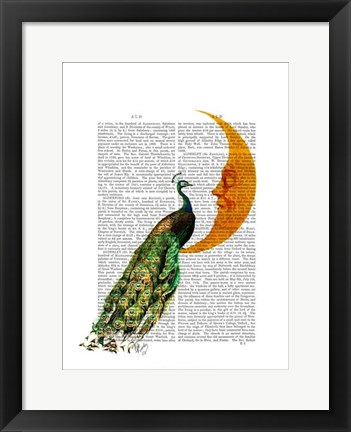 Framed Peacock on the Moon Print