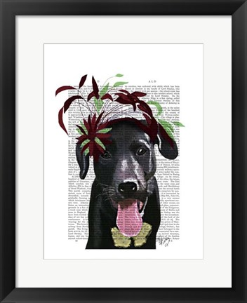 Framed Black Labrador With Green Fascinator Print