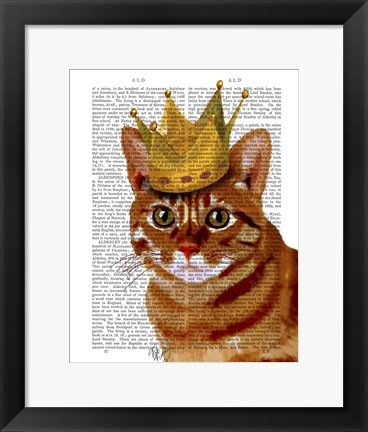 Framed Ginger Cat with Crown Portrai Print