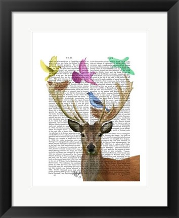 Framed Deer and Birds Nests Pastel Shades Print