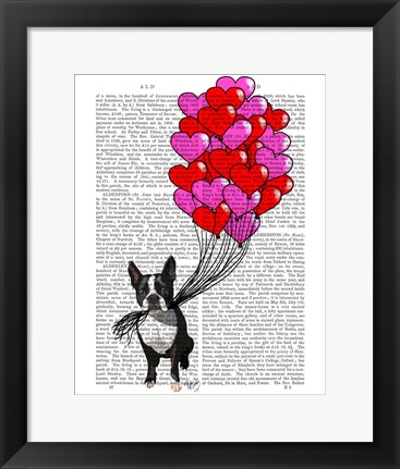 Framed Boston Terrier And Balloons Print