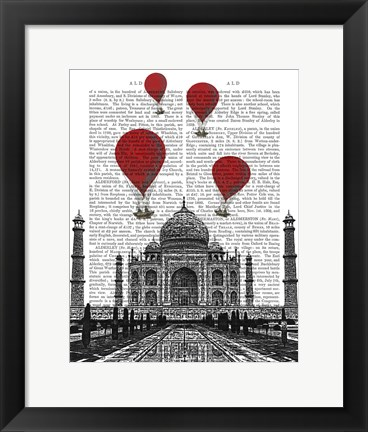 Framed Taj Mahal and Red Hot Air Balloons Print
