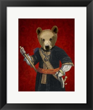 Framed Bear in Blue Robes Print