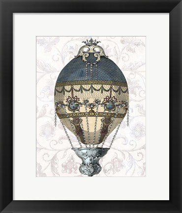Framed Baroque Balloon Blue & Cream Print
