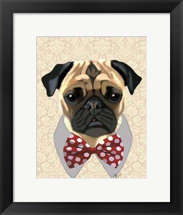 Framed Pug with Red and White Spotty Bow Tie Print