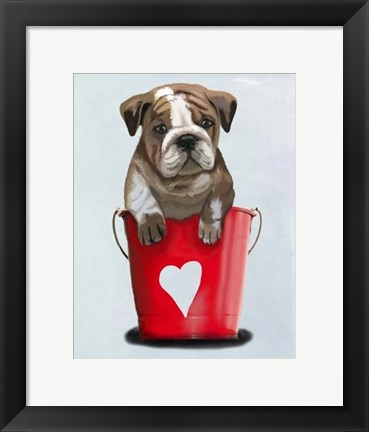 Framed Bulldog Bucket Of Love Red Print