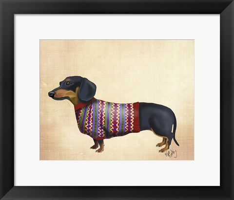 Framed Dachshund With Woolly Sweater Print