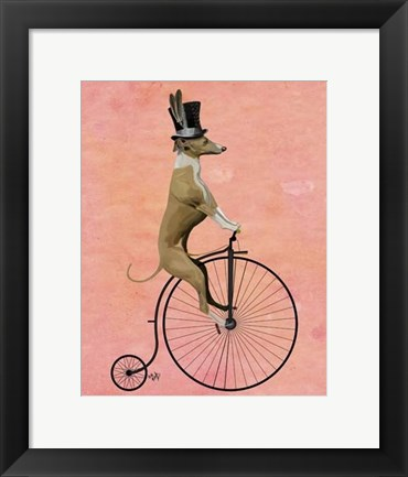 Framed Greyhound on Black Penny Farthing Print