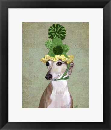 Framed Greyhound in Green Knitted Hat Print