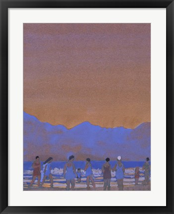 Framed Bathers at the Foot of a Mountain Print