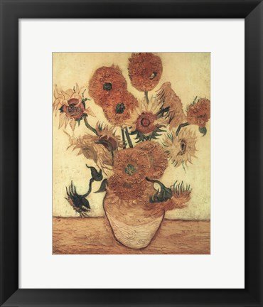 Framed Vase With Sunflowers Print