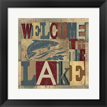 Framed Lake Living Printer Blocks IV Print