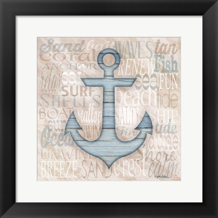 Framed Driftwood Beach Icons V Print