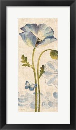 Framed Watercolor Poppies Blue Panel I Print