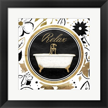 Framed Relax Gold Floral Bath Print