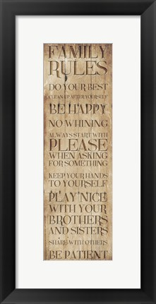 Framed Family Rules Wood Print