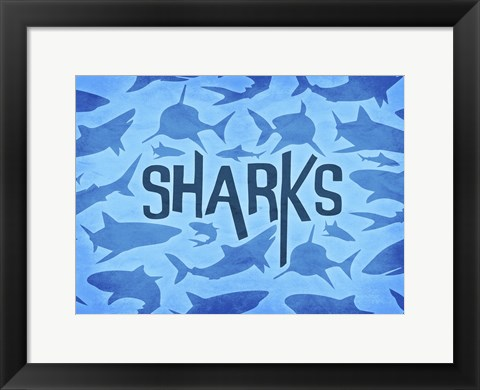 Framed Sharks Two Print