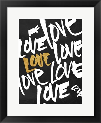 Framed Love Letters Gold Clean Print