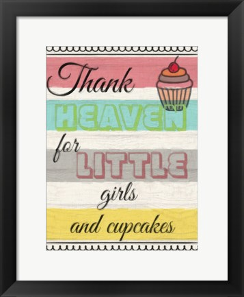 Framed Little Girls And Cupcakes Print