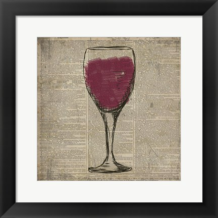 Framed Dictionary Red Wine Print