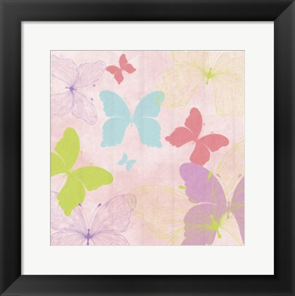 Framed Butterfly Collage II Print