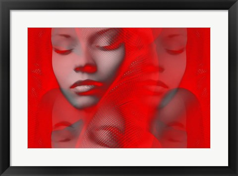 Framed Red Beauty Mirrored Print