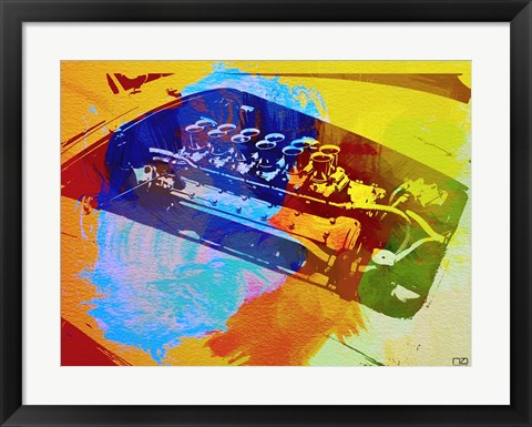 Framed Ferrari Engine Watercolor Print