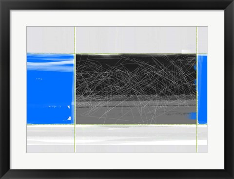 Framed Abstract Blue and Grey Print