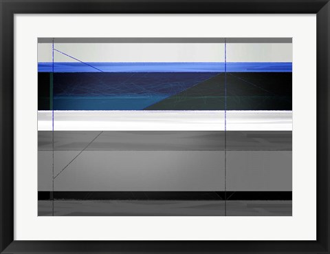 Framed Abstract Grey and Blue Print