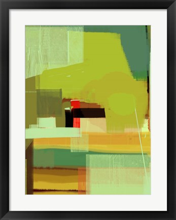 Framed Green and Brown Abstract 5 Print